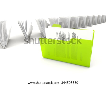 Green folder in a row isolated on white background