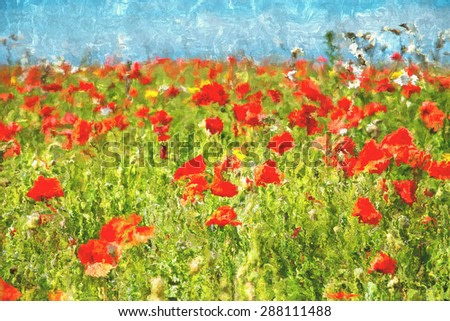 Abrstract painting of bright red Poppies in a field