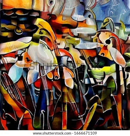 The first snowdrops. Abstraction in the modern style of cubism. The painting is made in oil and acrylic on canvas.