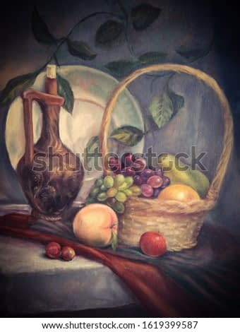 still life in the dutch style. fruits,grapes,peach,apple,orange in a basket lie on the table.beautiful vase jug filled with wine. vintage illustration for the design of postcards,cafes,interior.