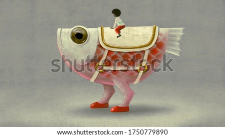 Surreal animal character design, a boy riding cute fish monster, isolated , imagination of child concept, fantasy art, dreamlike illustration
