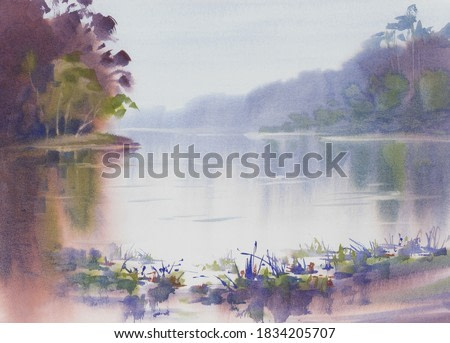 Morning mist by the lake with ships in autumn watercolor background. Autumn illustration