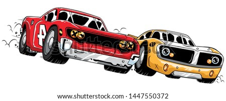 Cartoon illustration of a close race between 2 sport cars.