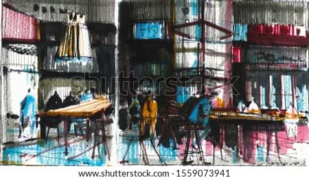 Old cafe visitors watercolor hand drawn illustration. People sitting at empty tables in bistro expressionist painting. Megapolis citizens lunch time drawing. Urban lifestyle concept