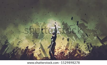 female robot rising a lightning arm to increase the power, digital art style, illustration painting