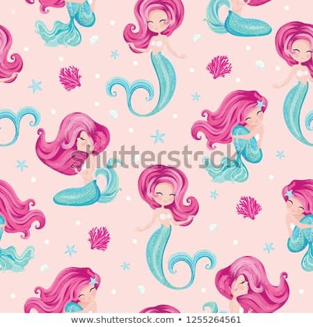 Cute little mermaid pattern for kids fashion artwork, children books, paper, prints, greeting cards, wallpapers.