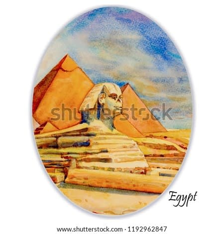 Hand drawn watercolor painting landscape on paper.  The Great pyramid with desert in Giza and the Sphinx in Egypt.  Illustration art, sky and cloud on white background, Travel landmark of the world.