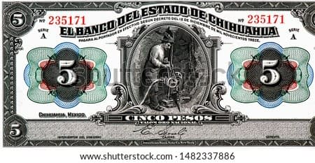 Miner, Portrait from Mexico 5 Pesos 1913  Banknotes. An Old paper banknote, vintage retro. Famous ancient Banknotes. Collection.