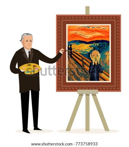 painter painting a expressionist man screaming
