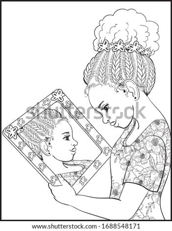 Hand-drawn vector coloring page for adults and children. Beautiful african american girl looking in the mirror.