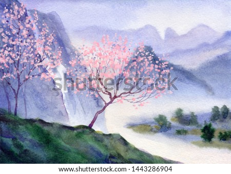 Springtime dusk watercolour paint cloudy fog pond rocky mount scene. Paper backdrop text space. Hand drawn grey color mist rural valley canyon brook. Artist blossom cherry bush sketch graphic picture