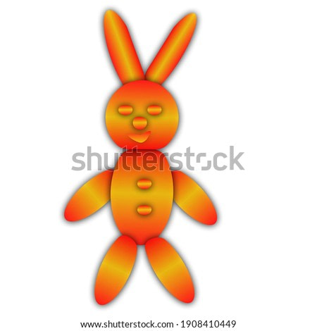 bright beautiful abstract bunny on white canvas