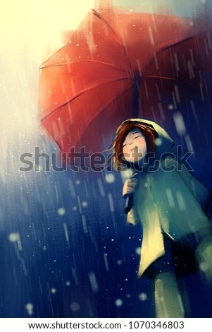 digital painting of girl in yellow raincoat with red umbrella in the rain, acrylic on canvas texture, story telling illustration