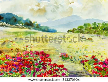 Watercolor painting original landscape colorful of wildflowers, buffalo in meadow garden and mountain hill emotion in sky,cloud background. Painted Impressionist, abstract,beauty nature spring season.