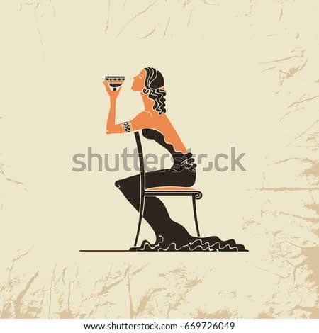 Girl with glass of wine in the Art Deco style. Woman in a long black dress is sitting on the high back chair. Advertising postcard for restaurant. Vintage postcard. Vector hand drawn illustration