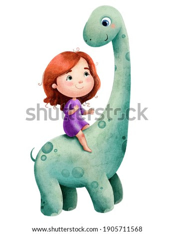 Watercolor illustration of a cute little girl with red hair and a green dinosaur with a long neck