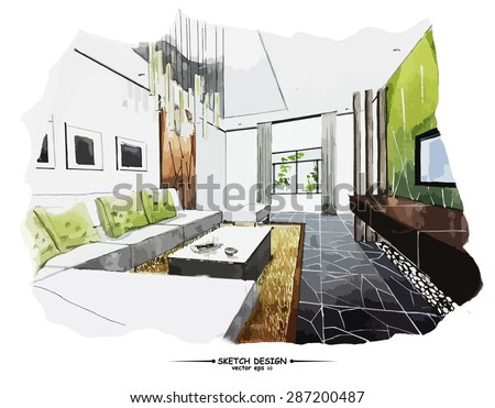 Vector interior sketch design. Watercolor sketching idea on white paper background.
