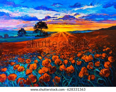 Original Oil Painting on canvas. Poppy field, sunset. Fine art. Modern Impressionism.