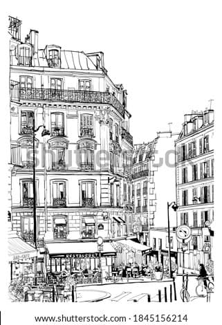 Tourism in Paris, cafe and restaurant - vector illustration