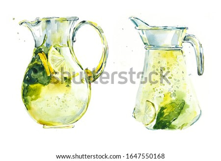 Homemade lemonade in a jug. Watercolor painting. Flower backdrop. Greeting cards.