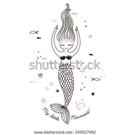 cute little mermaid, doodle nursery illustration