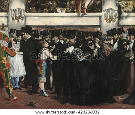 Masked Ball at the Opera, by Edouard Manet, 1873, French painting, oil on canvas. This was a risqu_ evening, where masked young women, likely respectable ladies concealing their identities