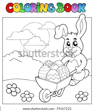 Coloring book with bunny and barrow - vector illustration.
