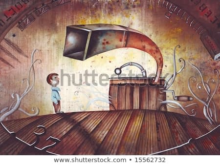 A Boy and an old gramophone. Allegory of lonely children. Illustration by Eugene Ivanov.