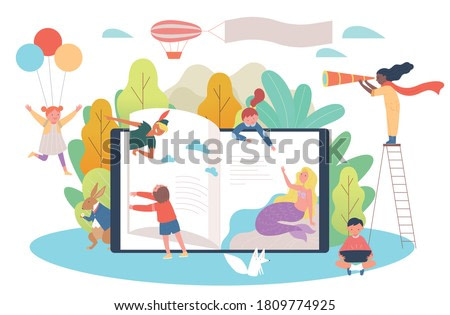 Huge books and children. Children are meeting the characters in the story. flat design style minimal vector illustration.