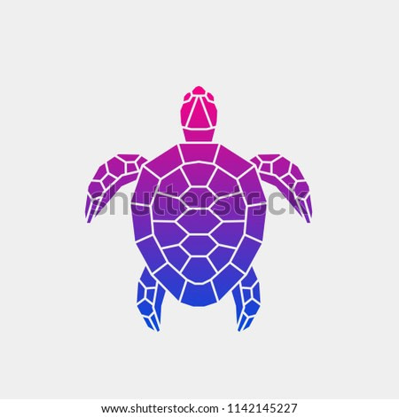 Vector illustration. Abstract polygonal turtle. Gradient geometric animal purple color.