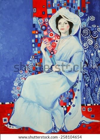 Portrait of woman in a white dress in the style of Gustav Klimt - an original modern painting, acrylic