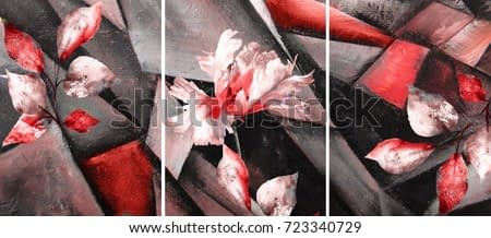 Hand drawn oil painting - triptych with flowers. Abstract art background on canvas. texture. In Interior Modern, Contemporary art. red