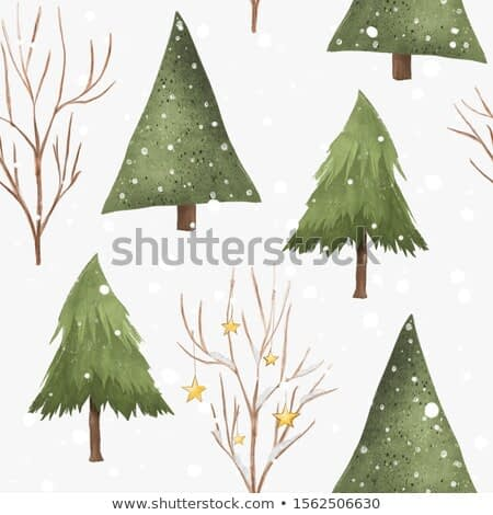Cute Christmas, winter holidays seamless pattern with trees and snowflakes on white background