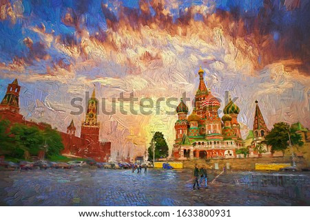 Colorful morning sky with Moscow Kremlin and Saint Basil's Cathedral on Red Square, which is the most popular tourist attraction in Moscow, Russia.- oil painting.