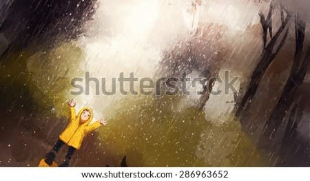 watercolor painting of happy girl playing in rain
