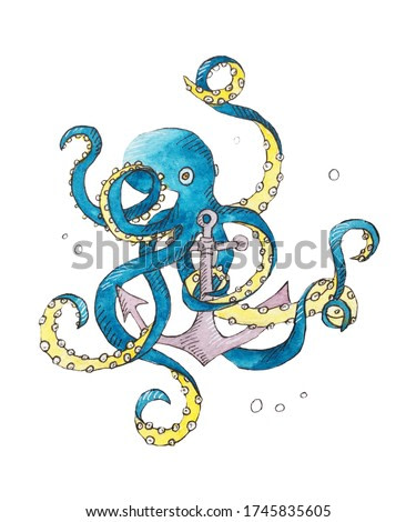Children's illustration of an octopus. sketch of a sea animal.