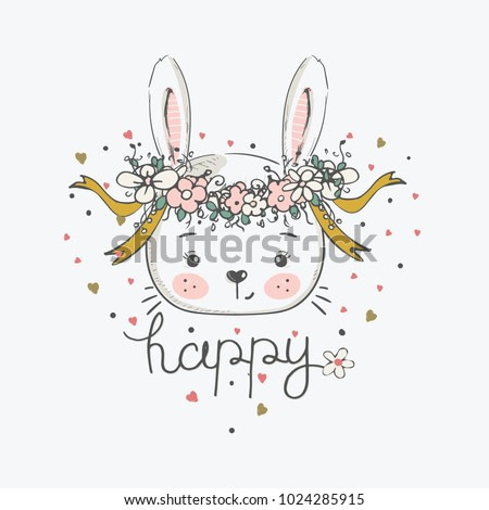 hand drawn vector illustration of cute romantic bunny girl with circlet of flowers/can be used for kid's or baby's shirt design/fashion print design/fashion graphic