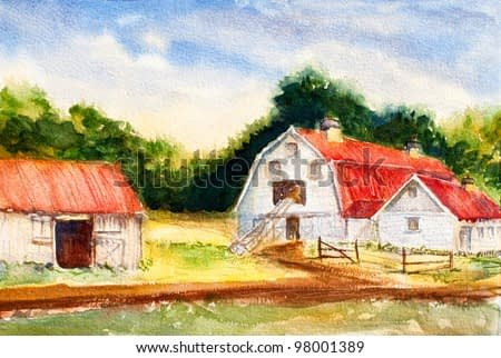 original art, watercolor painting of agricultural scene - barns with red roofs