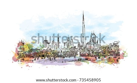 Watercolor sketch with splash of Jumeirah Beach with burj skyline Dubai UAE in vector illustration.