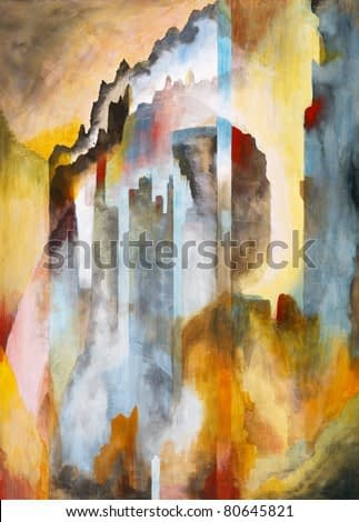 A symbolist style painting based on a view of Edinburgh Castle