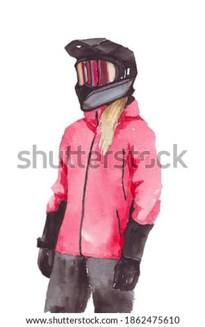 Woman in a sports jacket hand drawn. Sportswoman in watercolor isolated on a white background. Girl on a snowboard watercolor. Girl playing sports illustration. Extreme sports watercolor drawing