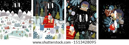 2020! Merry Christmas and a happy new year! Vector illustration with the congratulation of the coming year, night winter cityscape, family and children with santa claus and numbers 2020.