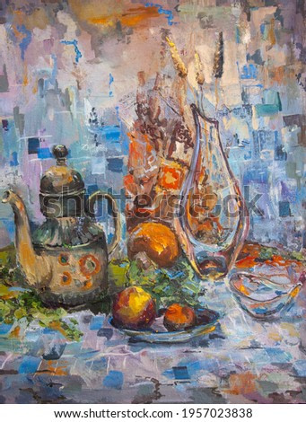 A teapot ,a saucer of fruit,a glass vase and a candy bowl are harmoniously placed against a mosaic background.Green and orange fabrics give the still life a finished look.Painted in oil on canvas.