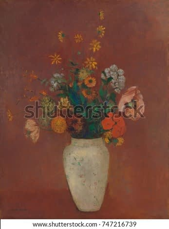 Bouquet in a Chinese Vase, by Odilon Redon, 1912-14, French Symbolist painting, oil on canvas. This modernist still life combines naturalist depictions of flowers with bright flat colors, impressionis