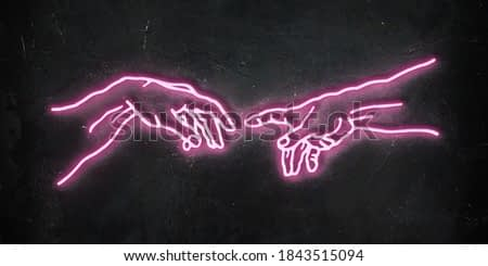 Funny illustration of pink glowing neon reaching hands from the Creation of Adam of Michelangelo on dark wall background.