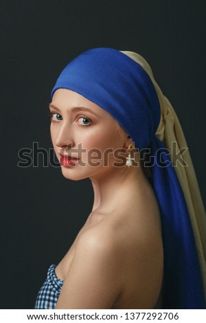 Portrait of a woman with a pearl earring, inspired by the painting of the great baroque and renaissance artist Jan Vermeer