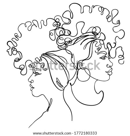 Abstract portrait of young two African American woman. Friends, sisters or couple. Continuous one line drawing isolated on white. Vector illustration in simple modern style.