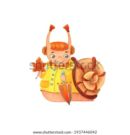 Autumn girl snail in a yellow raincoat with an umbrella. Cartoon watercolor illustration isolated on white background.