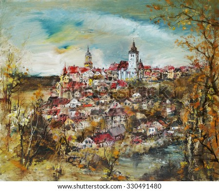 View of a beautiful city with towers, oil painting