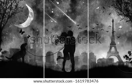 black and white painting of lovely couple kissing with Eiffel Tower. Collection of designer oil paintings. Decoration for the interior. Modern abstract canvas art. Set of pictures. illustration